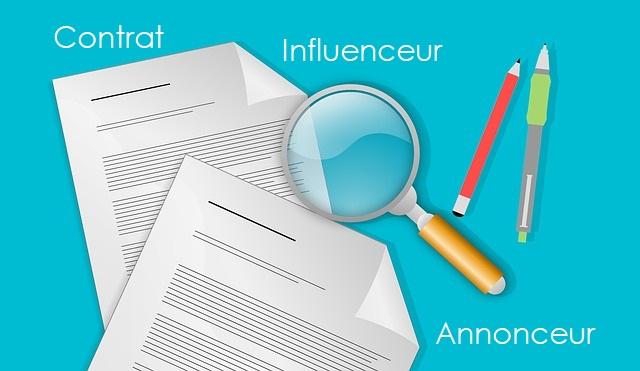 contrat influenceur et annonceur